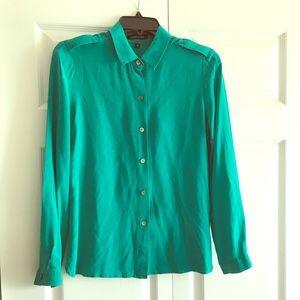 Silk blouse teal - Sz 8 - Bloomingdales